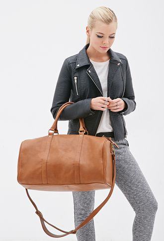 Faux Leather Duffle Bag Forever21 1000100696