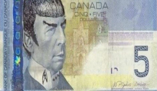 If you want to draw Mr. Spock on your money, the bank of Canada says you can do it and it's legal.
