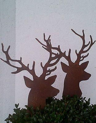 Edelrost hirsch klei zum stecken t rkranz dekoration for Gartenschmuck aus metall