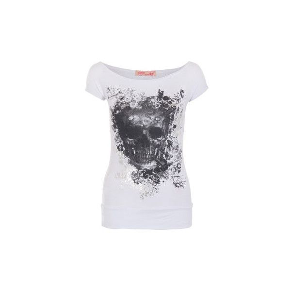 Krisp Gothic Boat Neck Skull Foil Butterfly Print Glitter Top T Shirt... (105 SEK) ❤ liked on Polyvore