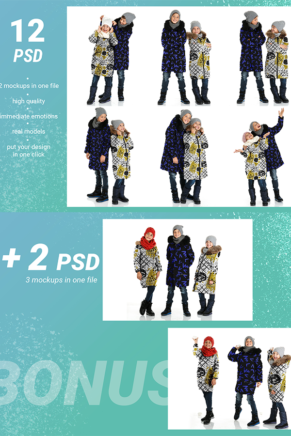 Download Kid Winter Jackets Mockup Bundle Psd Files You Can Download On Creative Market Demo Version Of This W Graphic Design Resources Behance Design Lettering Design