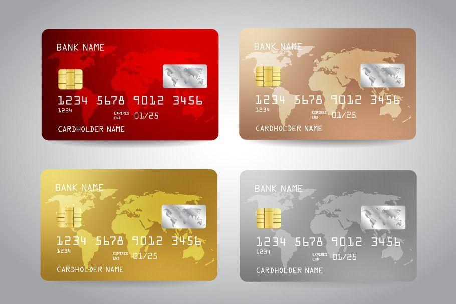 Credit Cards Templates Set Card Template Card Templates Credit Card