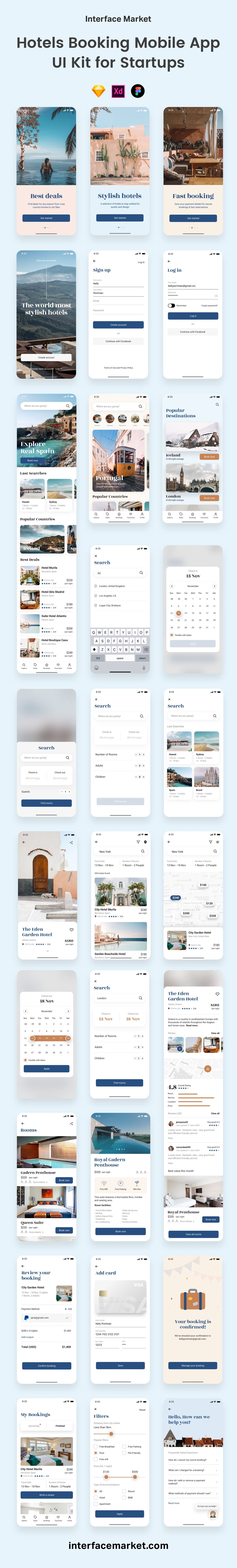 Athens Hotel Booking App UI Kit - Design Hotel Travel App Faster  — Interface Market