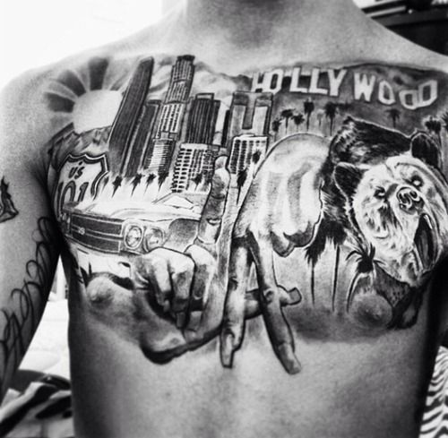 Los angeles chest piece tattoo for Los angeles tattoo ideas