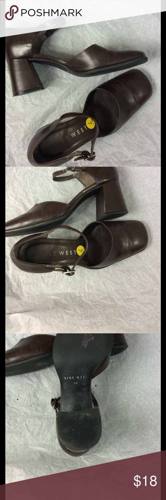 Nine West leather wedge heel w/ankle strap size 7 Nine West wedge heel shoe closed toe with ankle strap leather upper, made in Brazil  Size 7 Used condition but still in good shape little wear shown on bottom ,scuff mark on heel and straps show some wear  as shown in picture The inside is in clean condition Length  from toe to heel 9 3/4  inches Width  3 inches Heel is 2 1/2 inches Brown Nine West Shoes Heels