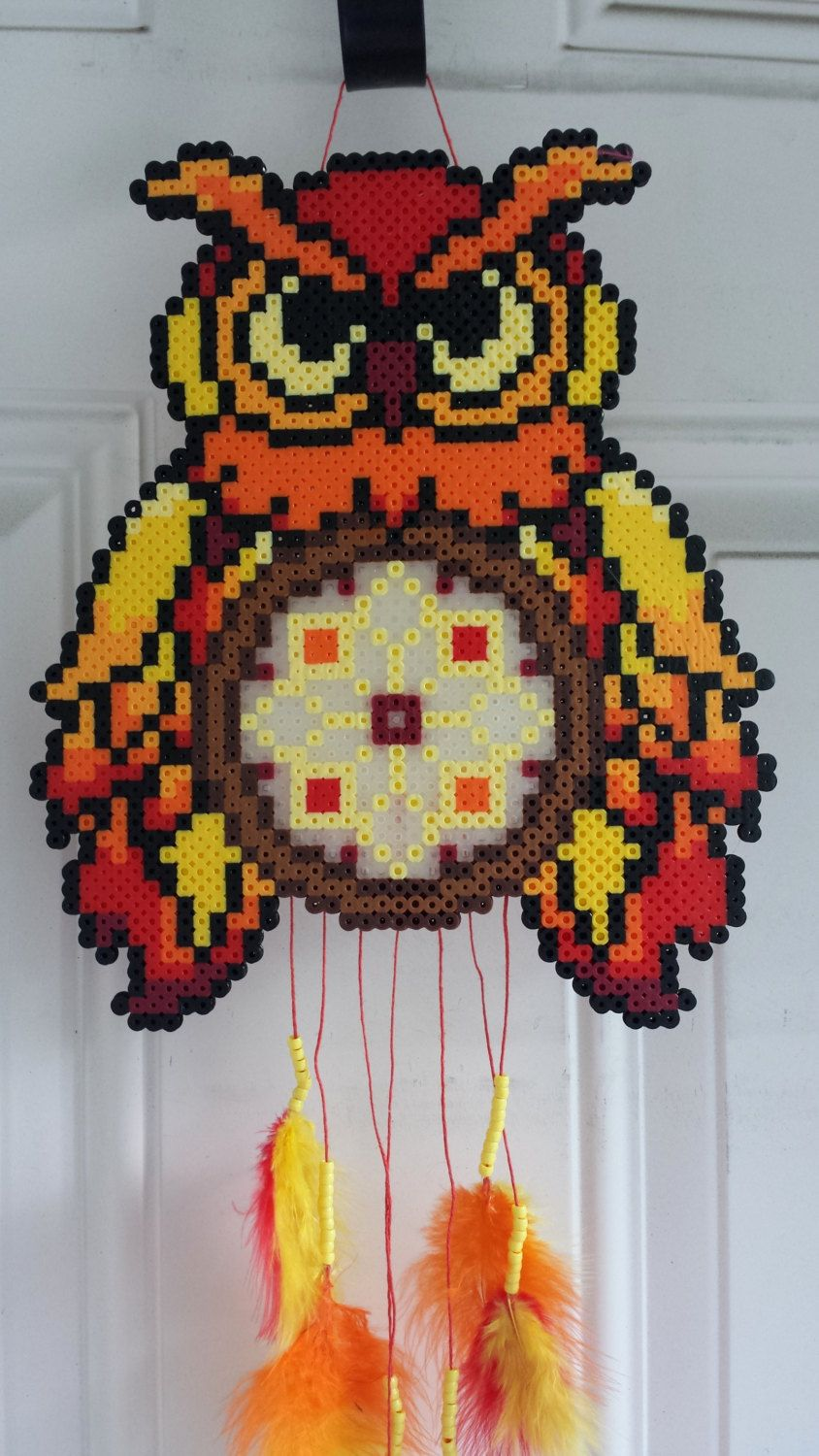 Owl dreamcatcher wall decoration perler beads by for Dreamcatcher beads meaning