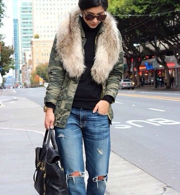 Fur and fatigue jacket