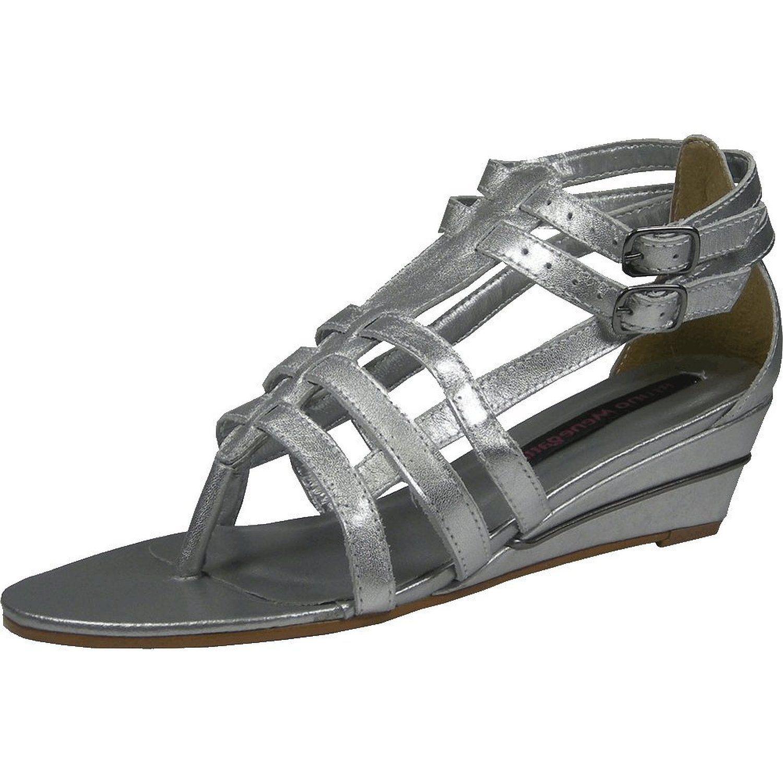 Made in Brazil! Bruno Menegatti womens leather sandal - impeccable design in medium wedge gladiator www.pampermeshoes.com