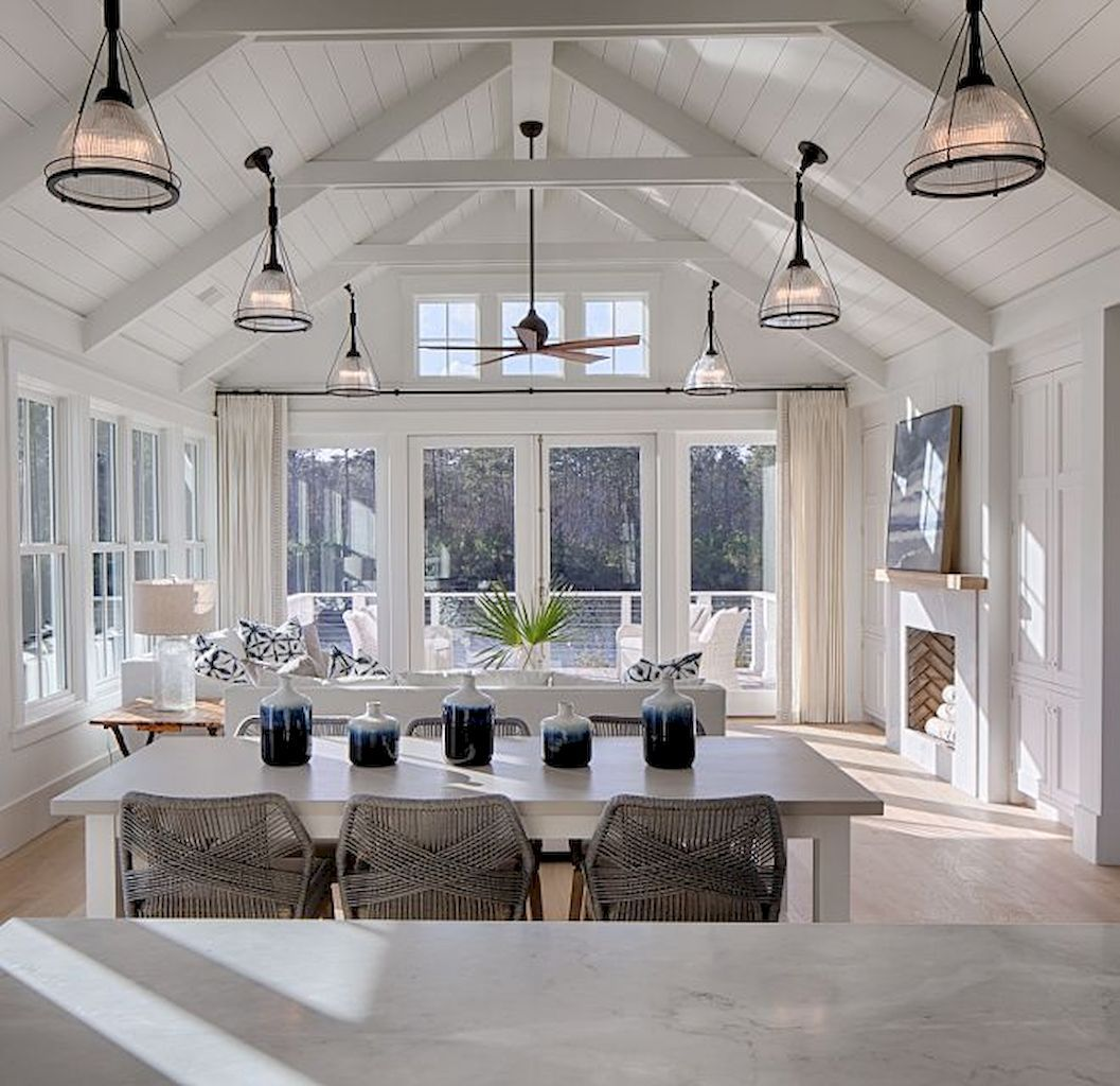 Open Concept Kitchen Ideas With Practical Design Elonahome Com Vaulted Ceiling Living Room House Interior House Design