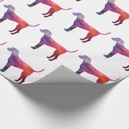 Plott Hound Geometric Pattern Silhouette Purple Wrapping Paper | Zazzle.com