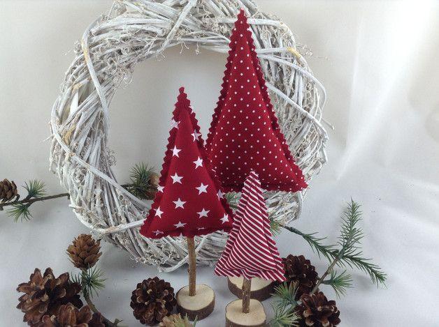Weihnachtsdeko 3 tannenb ume in dunkelrot wei ein - Dawanda weihnachtsdeko ...