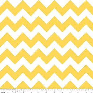 "Riley Blake Designs Medium Chevron in Yellow.  Pattern measures 2"" point to point.     PLEASE NOTE:  The Chevron is printed the length of the fabric which is parallel to the selvage.  44"" wide  100% cotton"