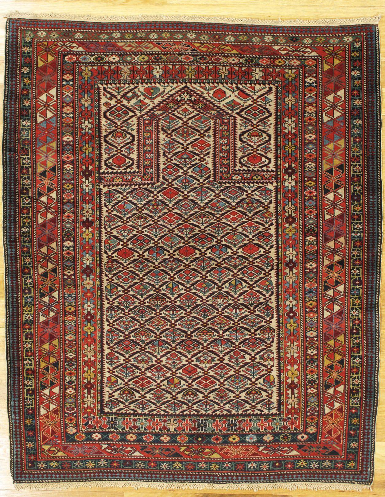 "Shirvan prayer rug,Eastern Caucasus,circa 1875, 4'.8""x3'.9"