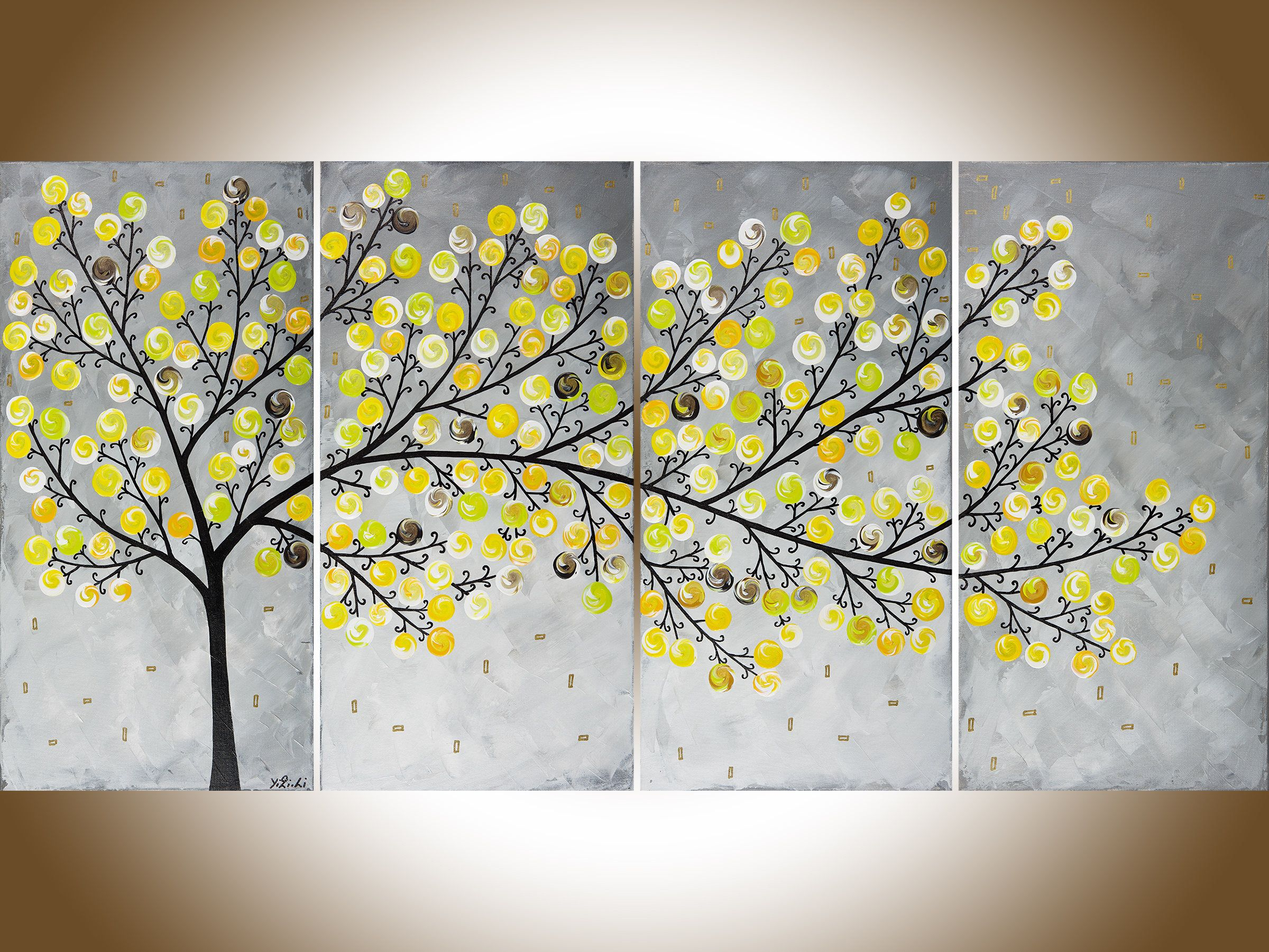 Yellow grey painting large wall art Modern art impasto canvas art ...