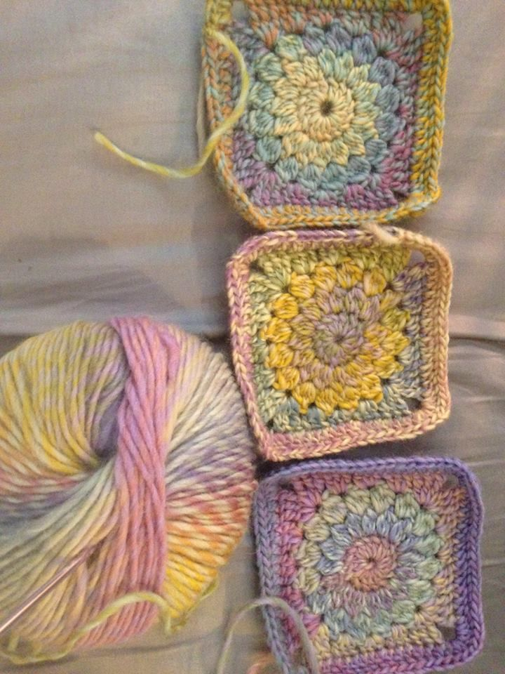 Trish Knight to Australian Crochet Community  1 hr ·   I'm loving this project and watching the different colour changes as I go. Every square is unique. This is cleckheaton California in mauve glow.