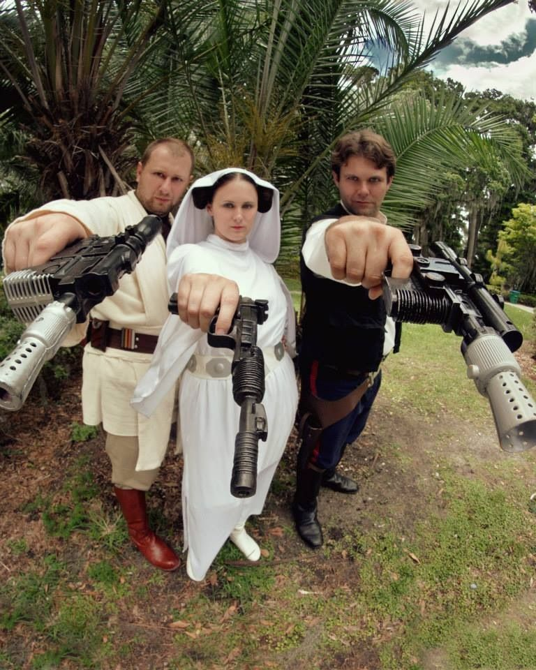 """""""Star Wars Guns for Hire"""" Jedi and Leia costumes and blaster detailing by Rebel Princess Cosplay and Costuming.  Image by Artasyougo Photography."""
