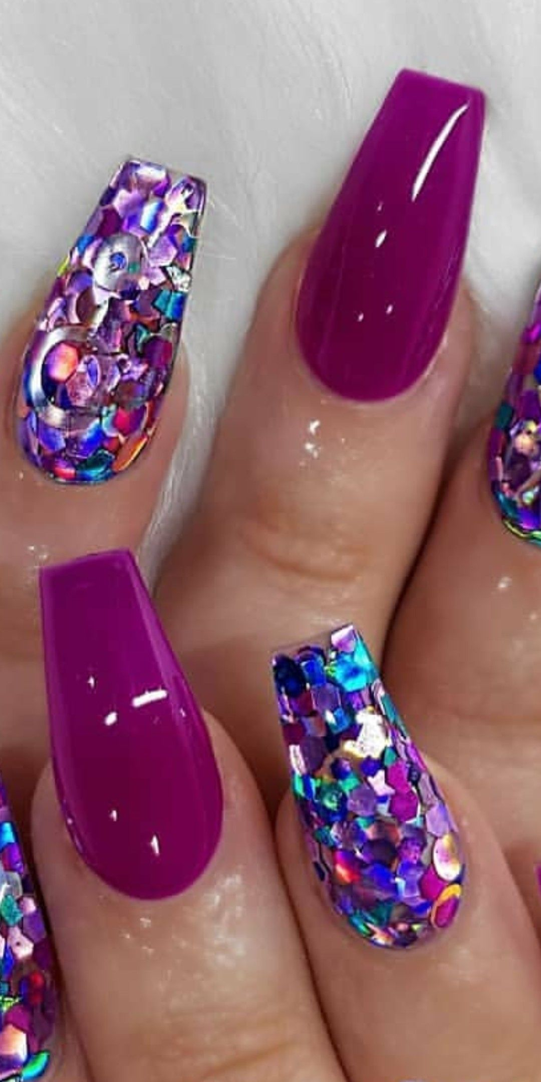 Magenta And Blue Sheet Glitter Nail Art Very Pretty Follow Kathy Now Magenta Nails Blue Glitter Nails Pink Glitter Nails