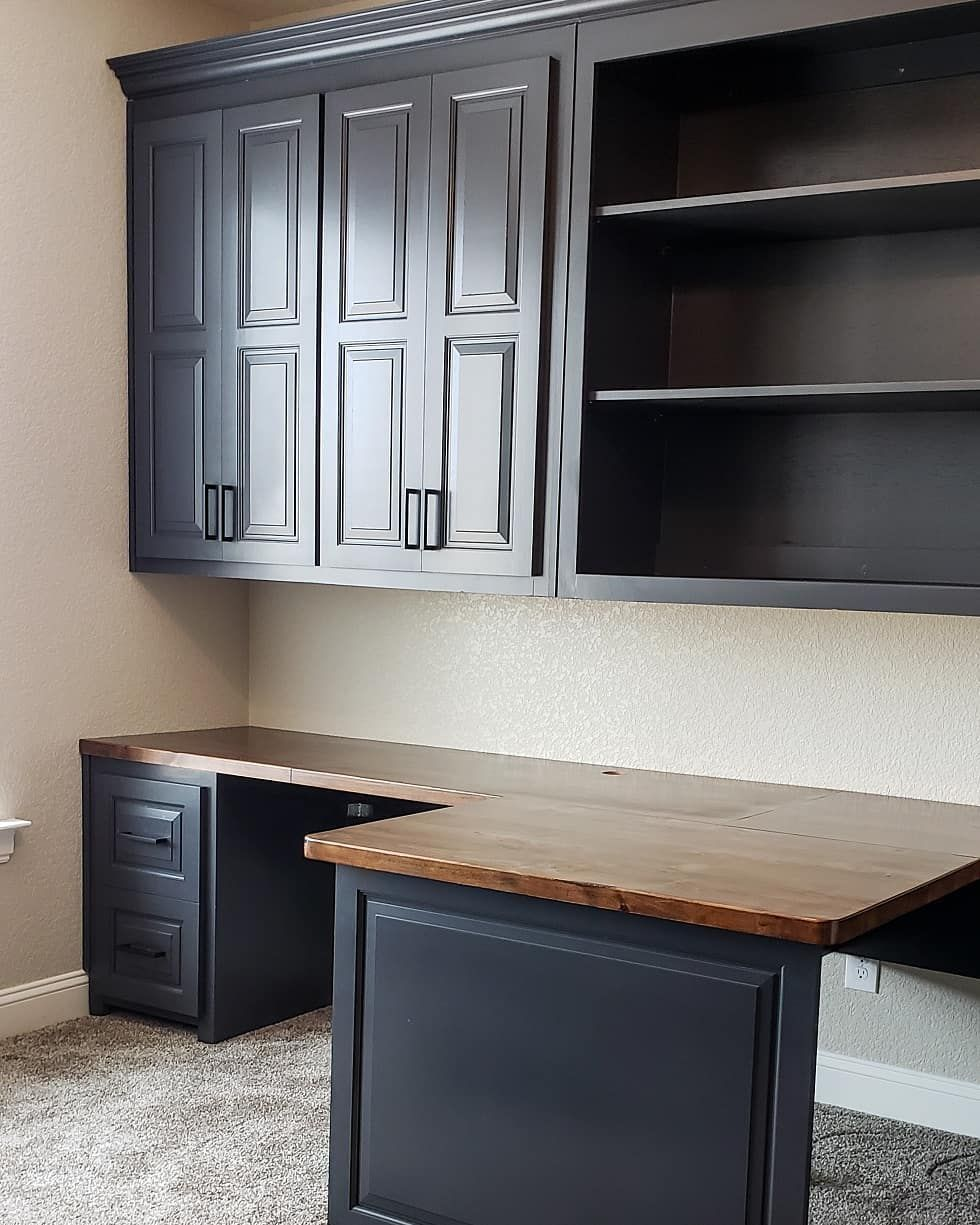 Woot Woot Office Built Ins Are Completed Well I Need A Grommet For The Holes B In 2020 Office Built Ins Built Ins Cabinet Design