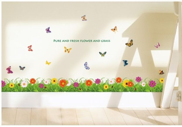 Kids Room Ideas Pure And Fresh Flower Grass Borders For Kids Rooms Butterfly Design Sweet Decals Stair Baby Wallpaper Boy Kids Room Wallpaper Baby Wallpaper
