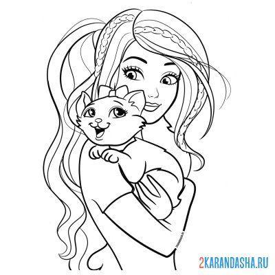 Раскраска для девочек красивая кукла барби с кошечкой ...