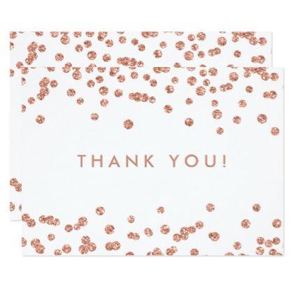 wedding thank you rose gold glitter confetti white card glitter