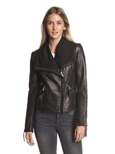 BCBGeneration Women's Leather Moto Jacket (Black)