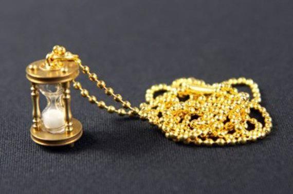 Photo of Sanduhr Halskette Functional Minchildren 80cm Egg Timer Clock Time Golden