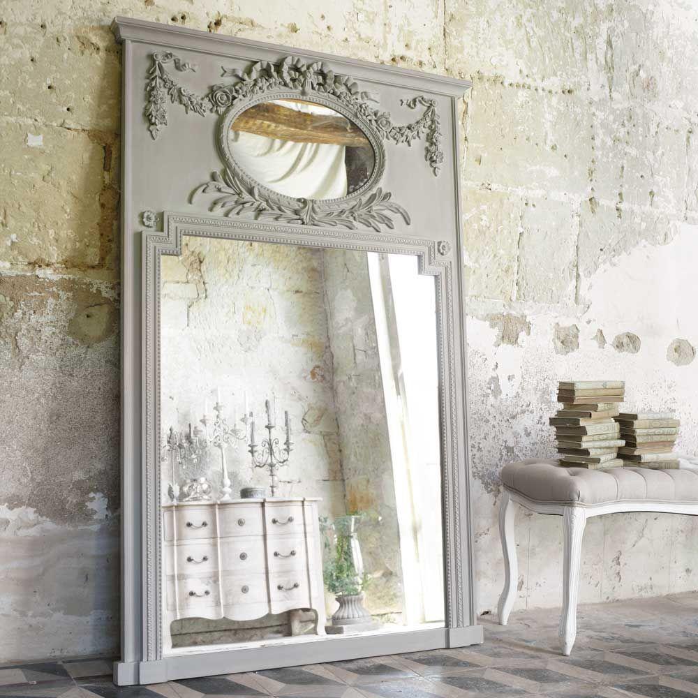 Miroir trumeau en bois gris h 160 cm mirano home for Miroir trumeau bois