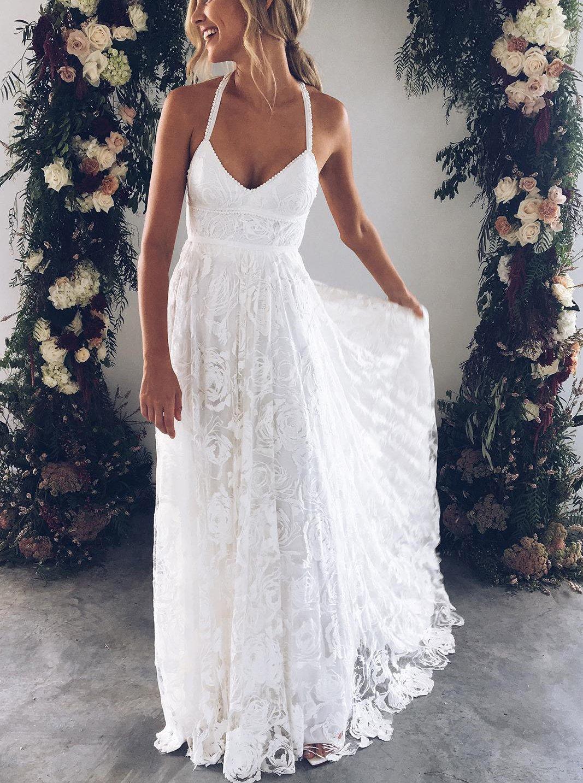 Boho wedding dresseslace wedding dressbackless bridal dressbeach