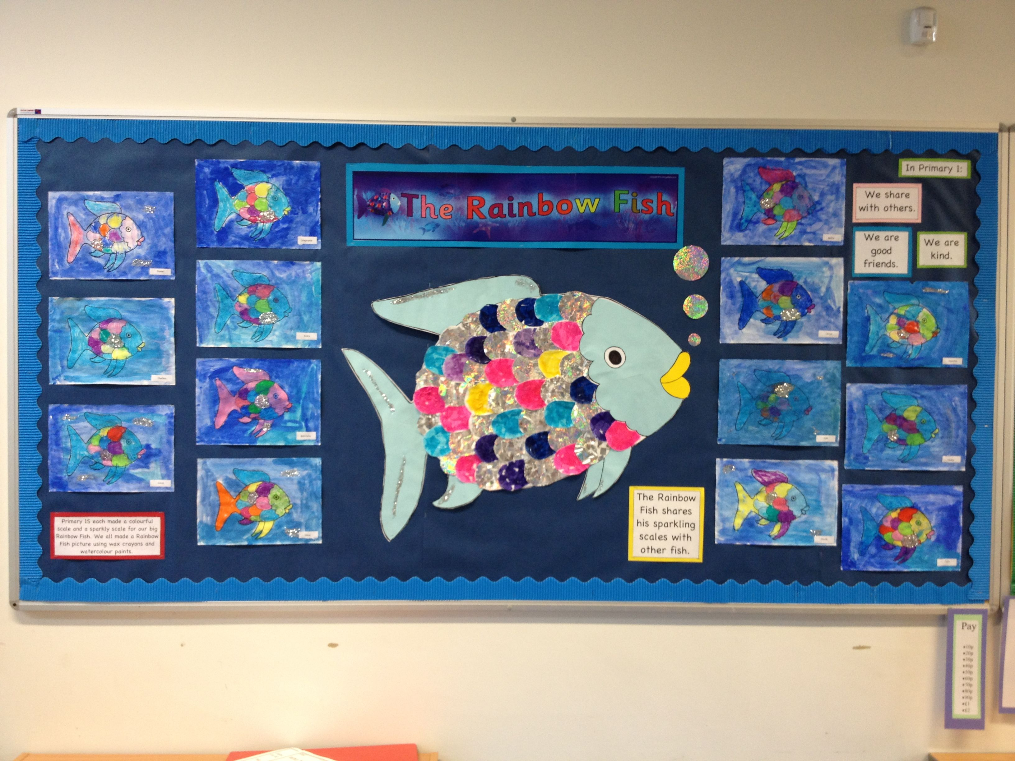 Rainbow Fish Display Children Made Individual Collage Scales And Wax Watercolour Paintings