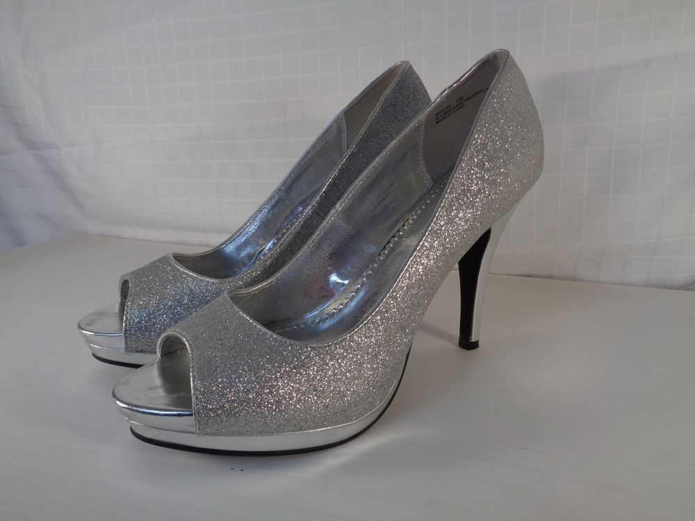 75fa441910f3 Sparkly silver open toe platform pumps size 11 M 4-3 4 heel NEW (W-230)   fashion  clothing  shoes  accessories  womensshoes  heels (ebay link)