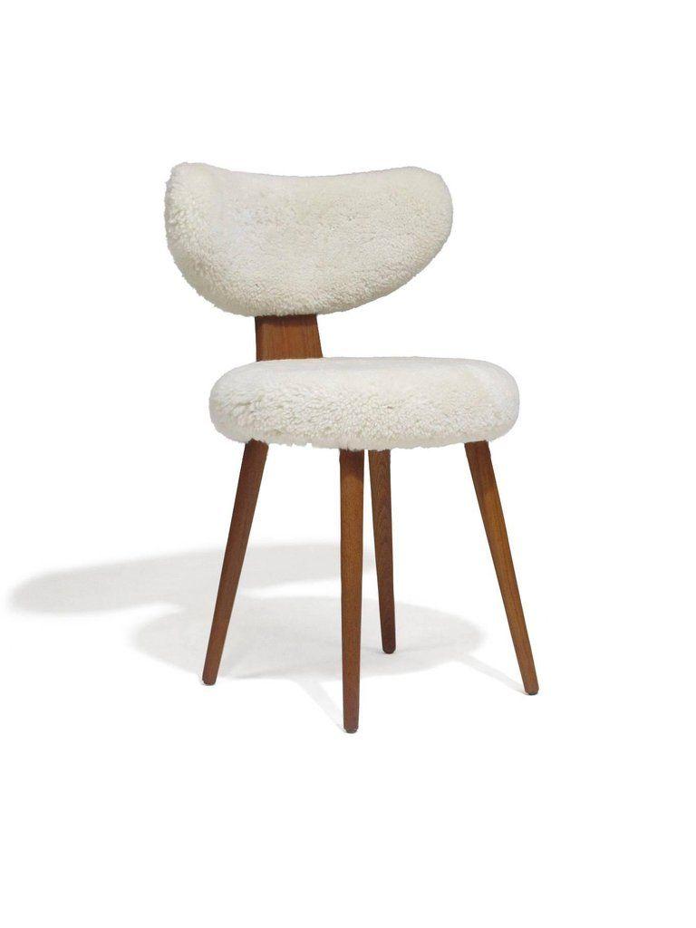 Mid Century Danish Vanity Chair In Shearling Lambskin 6 Meuble