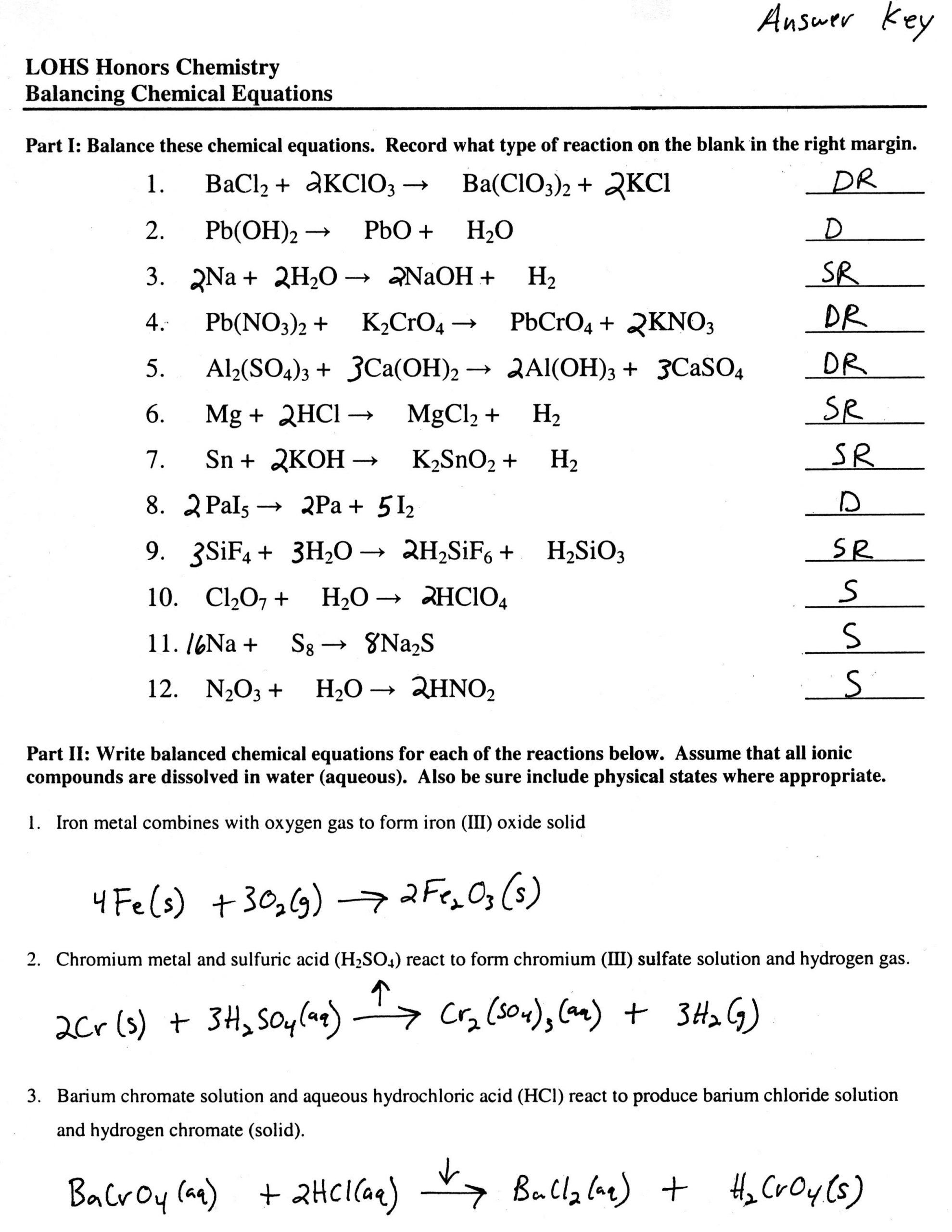 Balancing Equations Practice Worksheet Answers Balancing