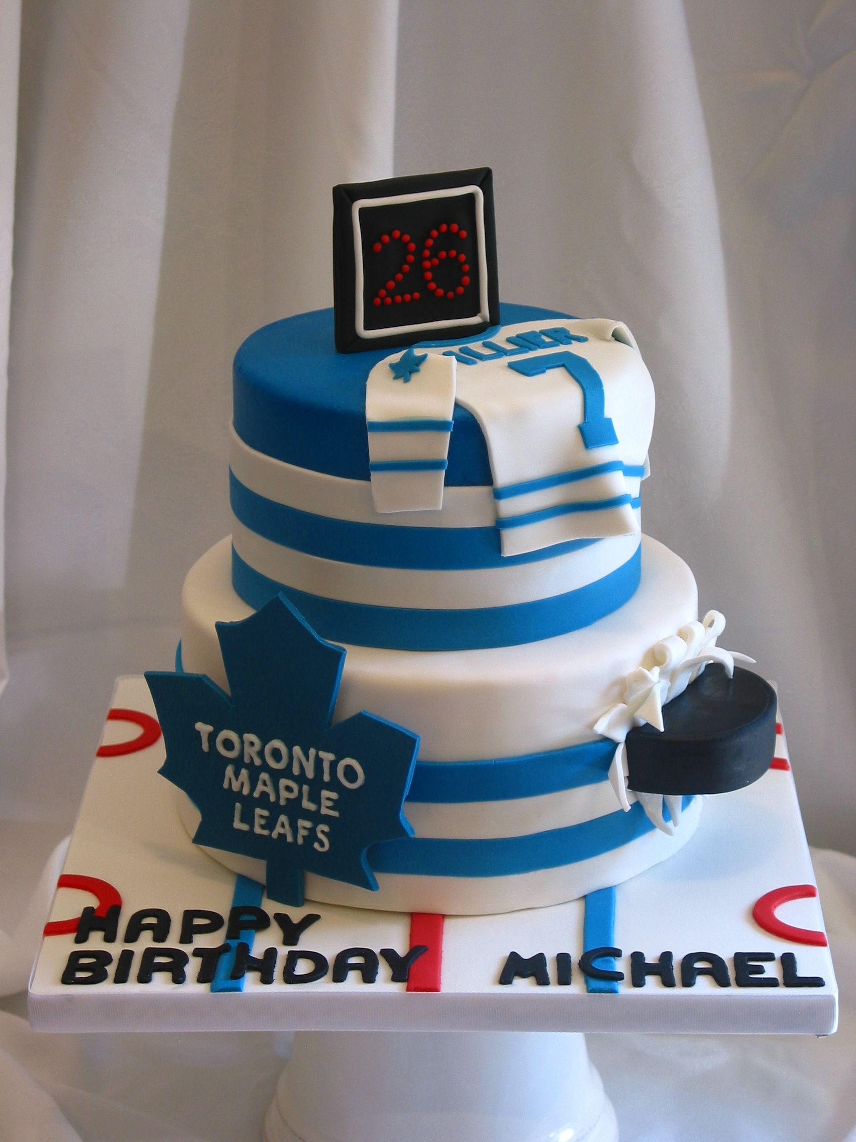 Pleasing Toronto Maple Leafs Birthday Cake Hockey Birthday Cake Hockey Funny Birthday Cards Online Benoljebrpdamsfinfo