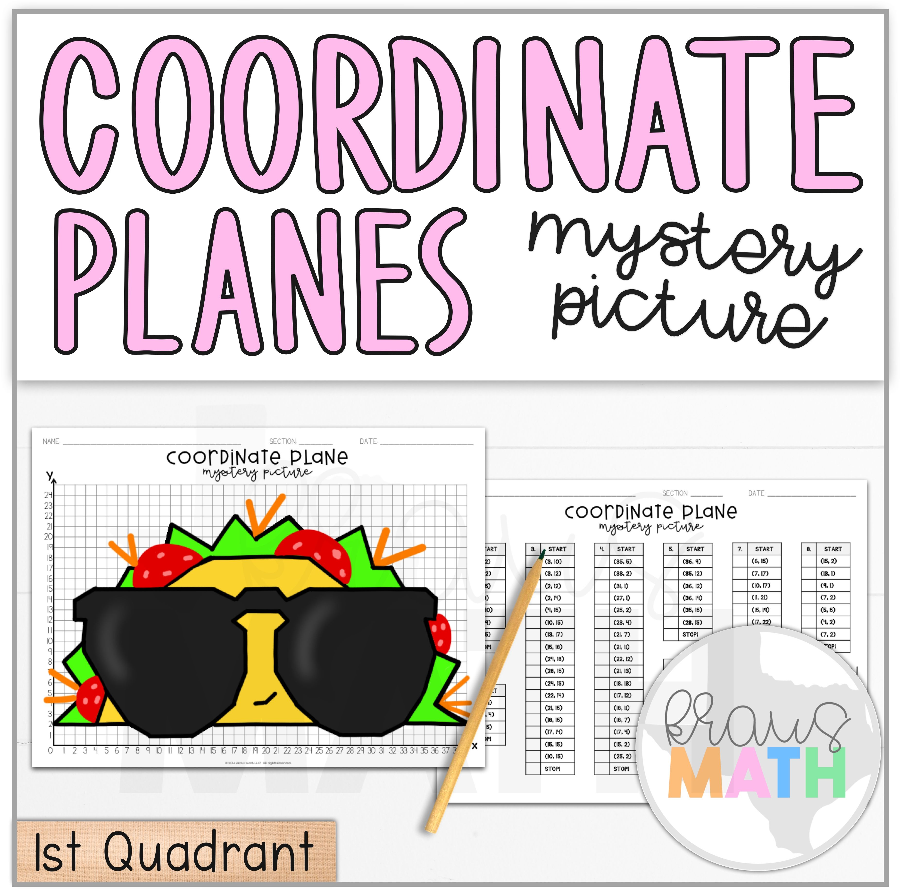 Taco In Sunglasses Coordinate Plane Activity 1st Quadrant