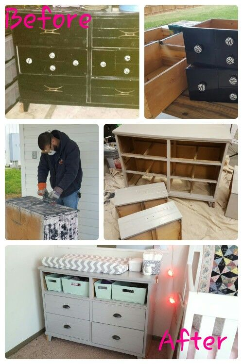 Dresser Painted Top Drawers Turned Into Shelf Space For Bins