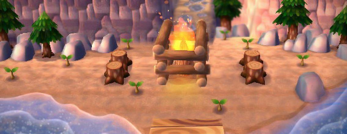 Acnl Hacked Beach Campfire Rocks Bonfire Pretty Nintendo Acnl