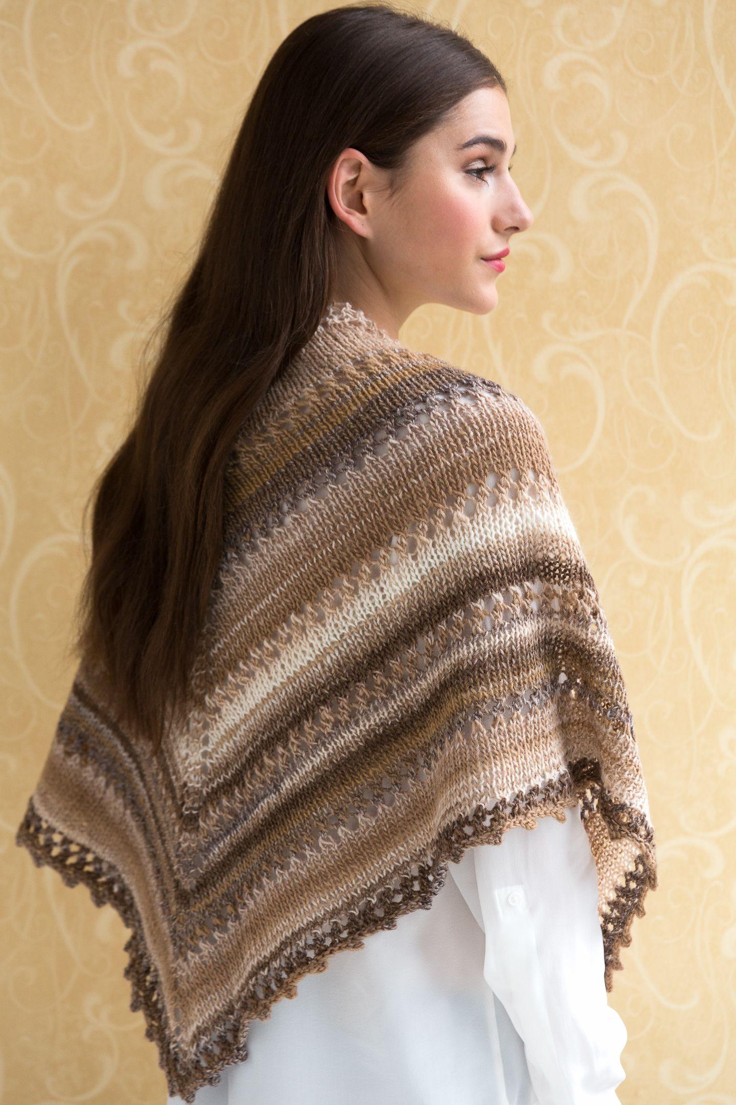 Simple Knit Shawl in NAVAJO a great self striping wool/acrylic yarn ...