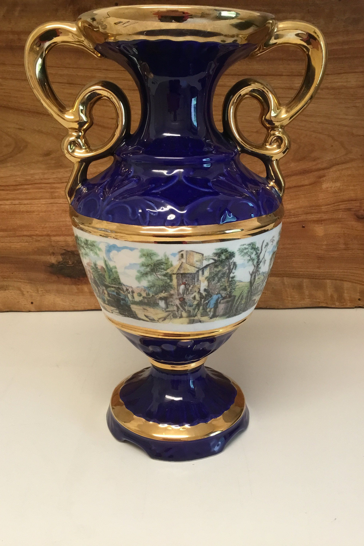 Italian  Porcelain cobalt blue vase antique Rare