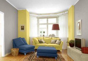 Farbgestaltung Im Wohnzimmer In Den Wandfarben: Pearl/Gelb/Taubenblau
