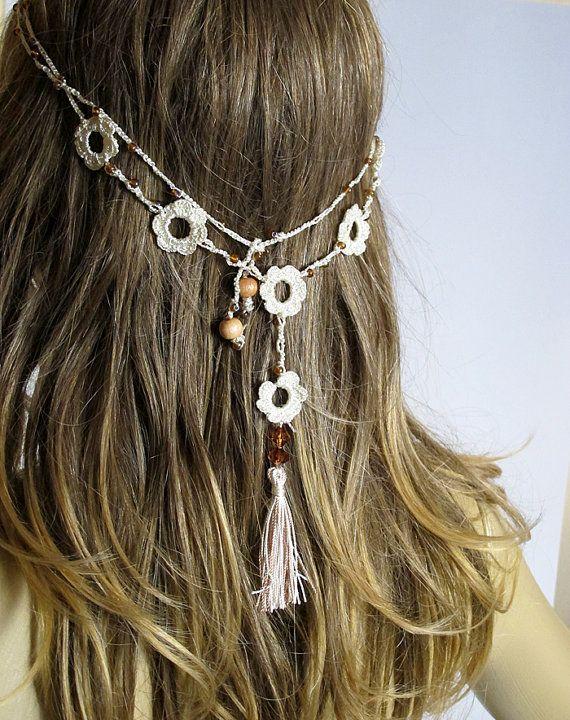 Crochet Headband and necklace tassel hair accessories Boho bohemian handmade Headband Hippie Headband Crochet Headbands for Women gift ideas