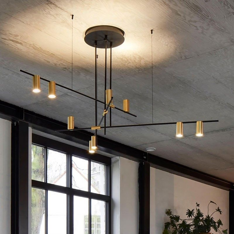 Modern Nordic Gold Cylinder Metal Adjustable Black Branch 9 Light Pendant Light Mid Century Lighting Modern Pendant Light Mid Century Lighting Modern Lighting