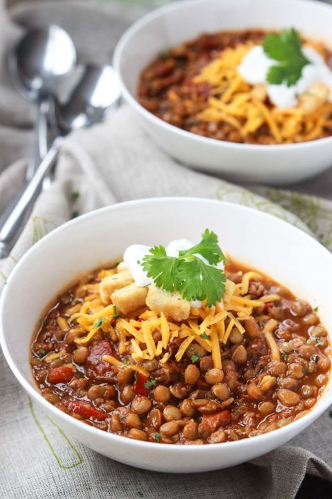Lentil Chili: You won't miss meat at all thanks to the heartiness of this vegetarian lentil chili.