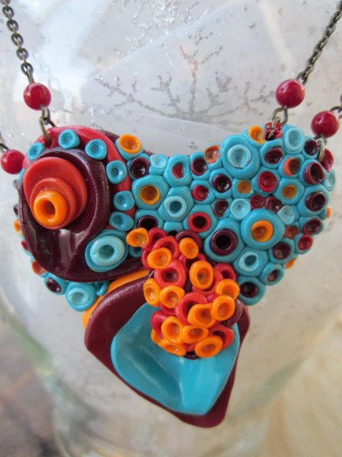Turquoise and orange polymer clay necklace by waterlilyandvine, $30.00
