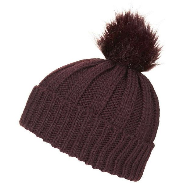74d1f83f TOPSHOP Faux Fur Pom Beanie Hat ($26) ❤ liked on Polyvore featuring  accessories, hats, burgundy, faux fur hat, pom pom beanie, burgundy hat, fake  fur hats ...
