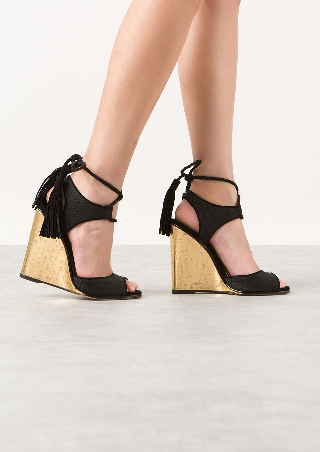 d70fa7746bd3 Paul Andrew Wedges    Paul Andrew black canvas and suede wedges sandals