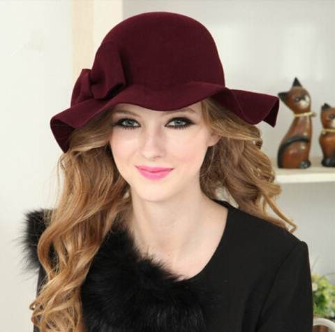 cd33dd73d2005 Waves floppy hat for women wool bowler winter hats with bow   HatsForWomenBowler
