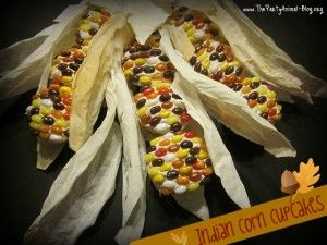 Indian Corn Cupcakes - made with Jelly Bellies, but I would prefer candy corns