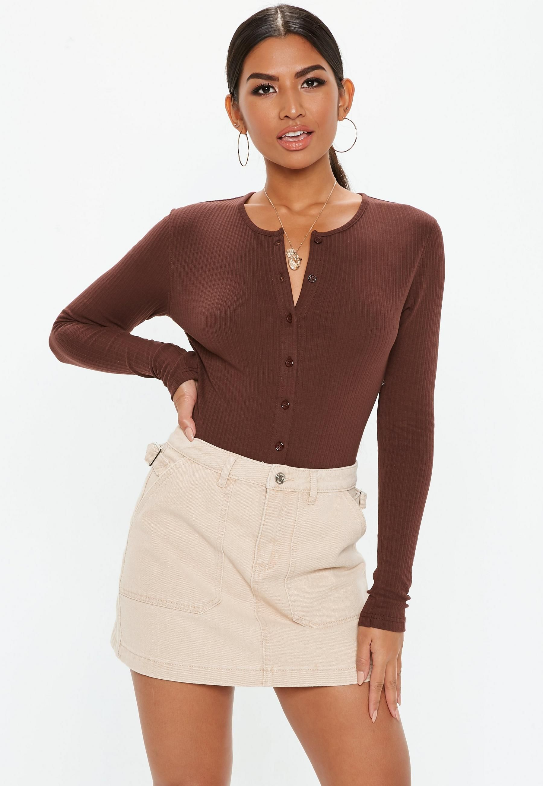 a76658128f4 Missguided Brown Ribbed Button Front Bodysuit in 2019