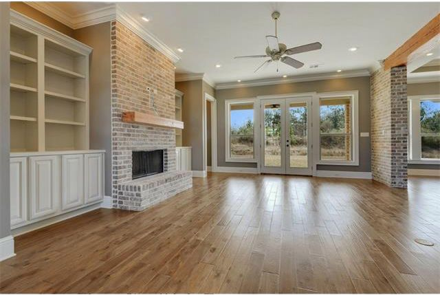 Floor to ceiling brick fireplace with reclaimed cypress - Floor to ceiling brick fireplace makeover ...